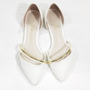 Rock & Republic Shoes Flats Pointed Toe Gold White